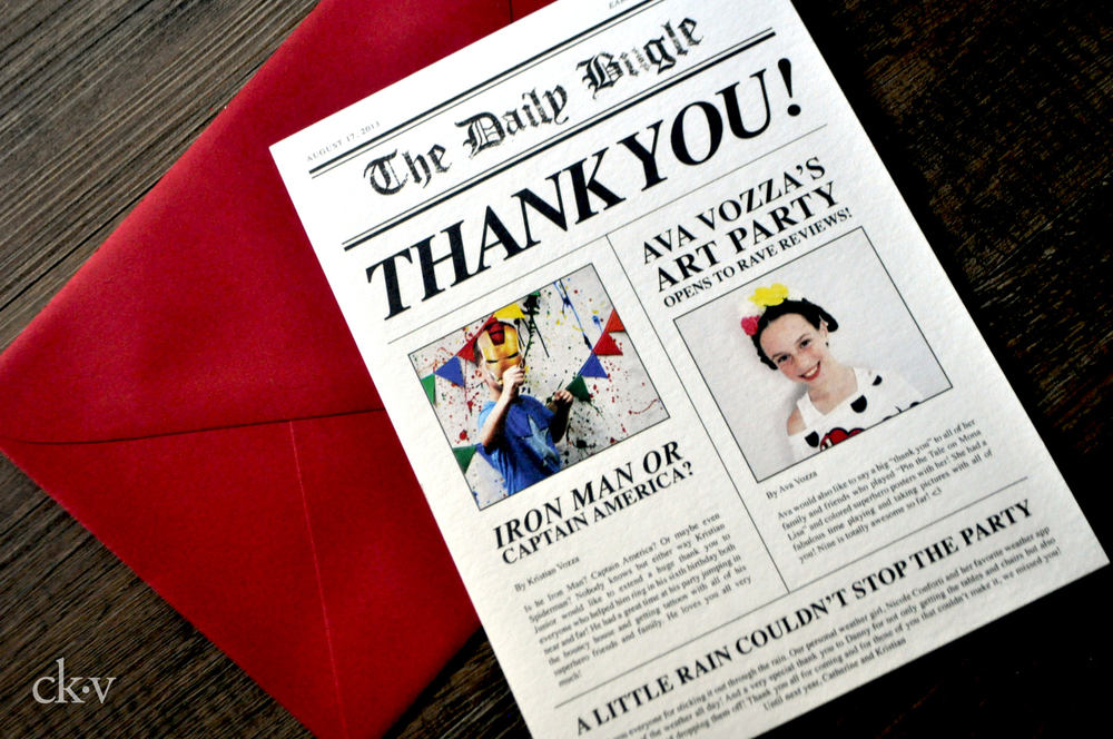 newspaper photo thank you card