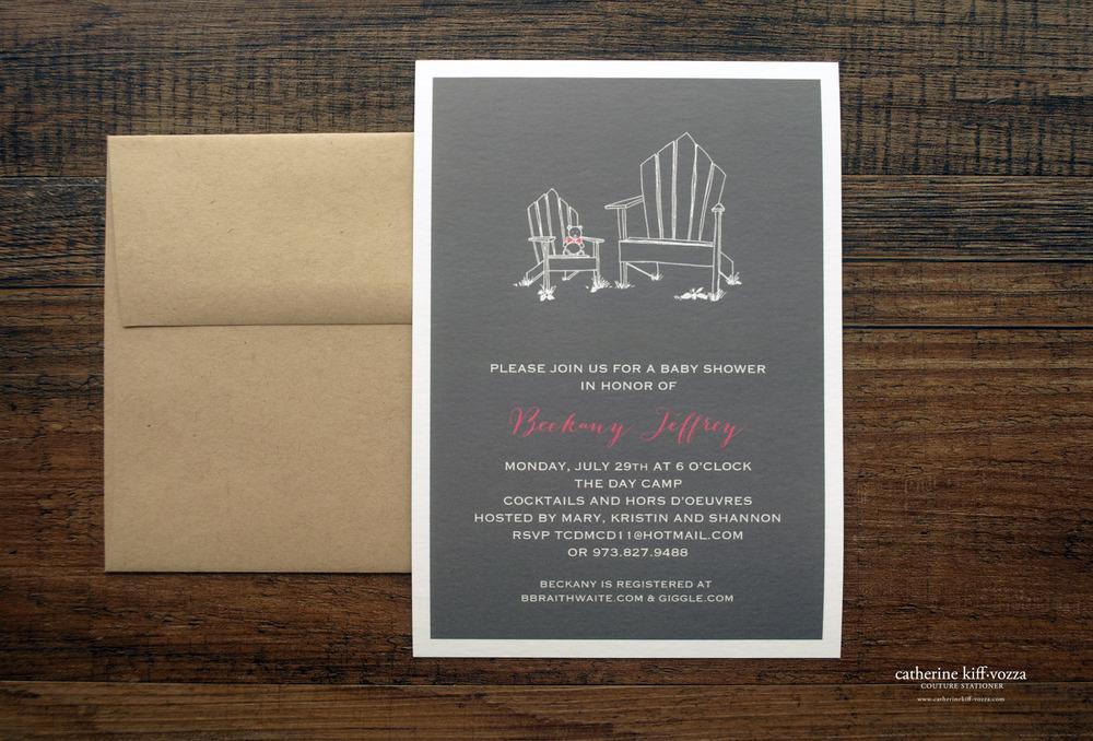 pink and grey adirondack chair babu shower invitation