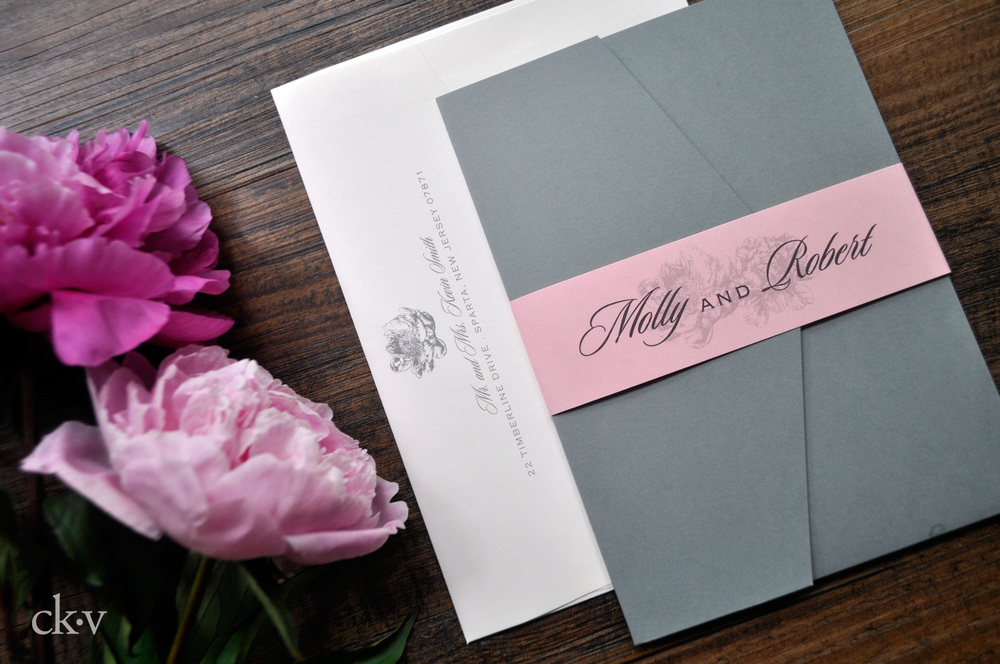 pink and grey peony wedding invitations with pocket