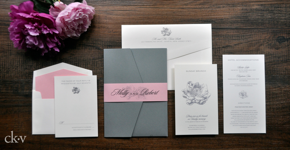 pink and grey pocket fold wedding invitation