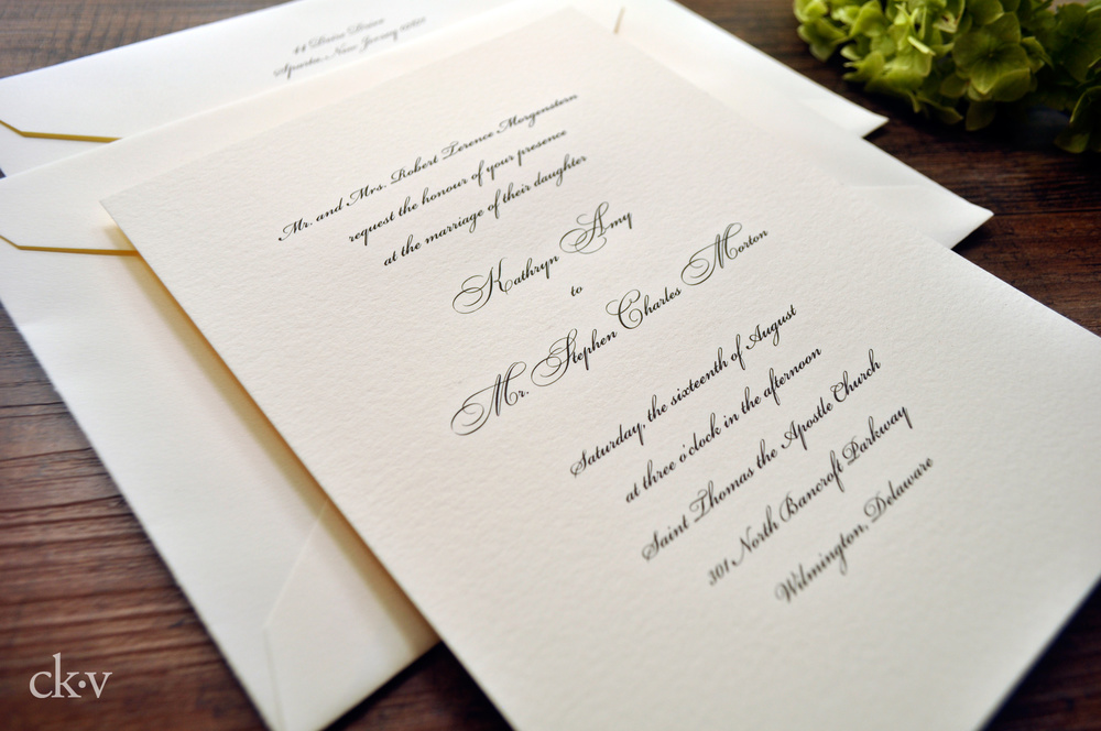 traditional engraved wedding invitations