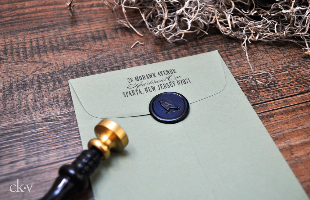 gothic halloween wedding invitations with black wax seal