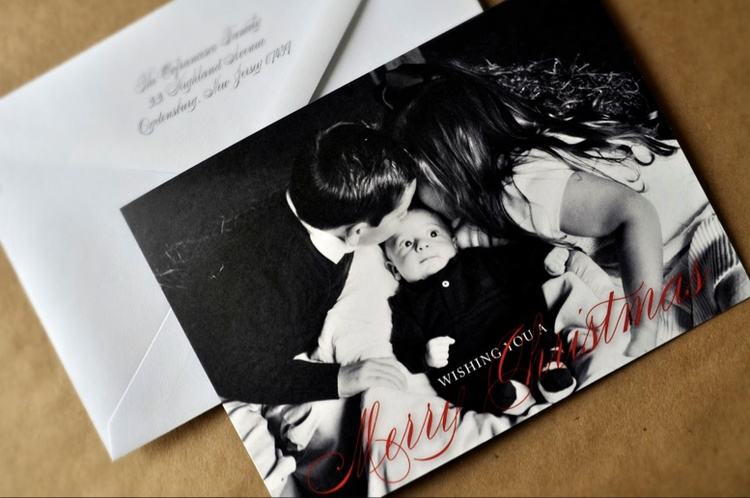 custom black and white folded modern christmas photocard