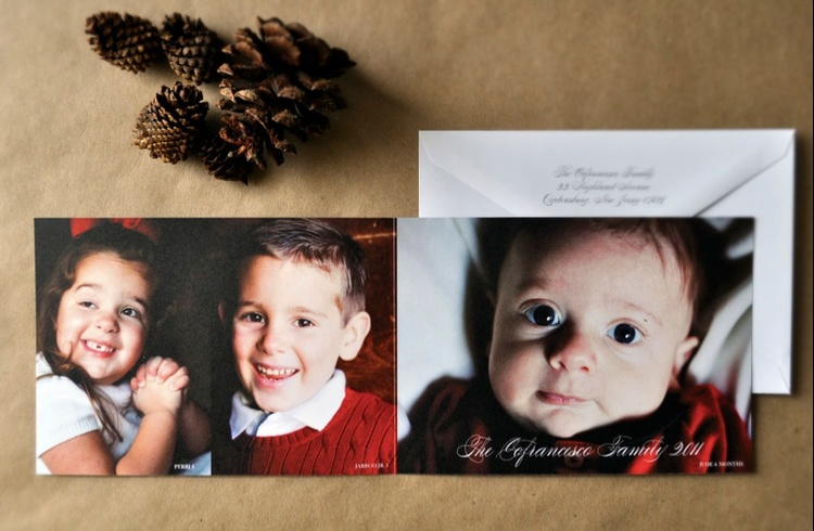 custom folded modern christmas photo card design