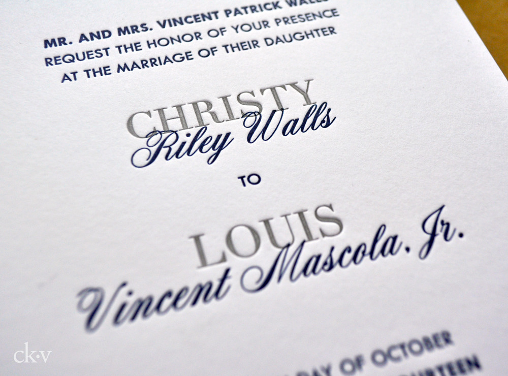 modern and minimal navy and gray letterpress wedding invitaiton suite