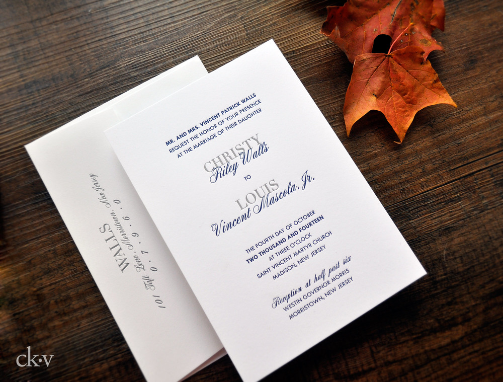 modern and minimal gray and blue wedding invitation on cotton rag card