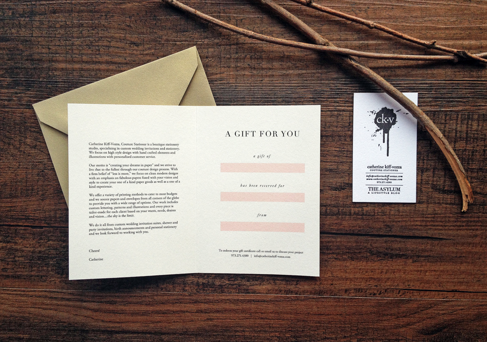 catherine kiff-vozza's boutique stationery gift certificates
