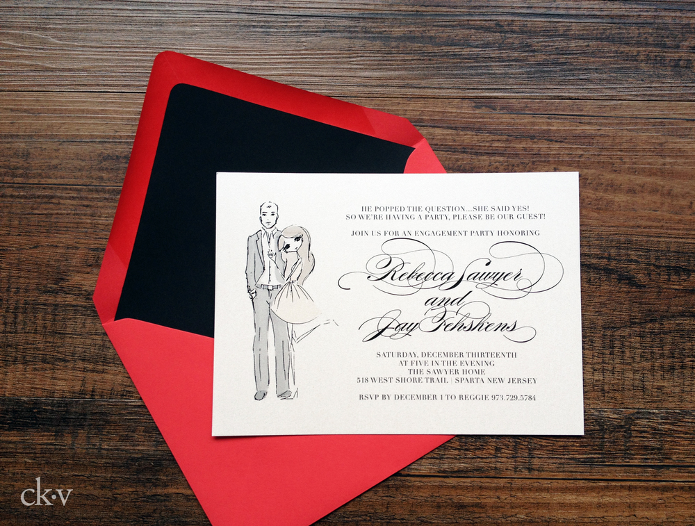 custom engagement party invitation with crystal ring bling