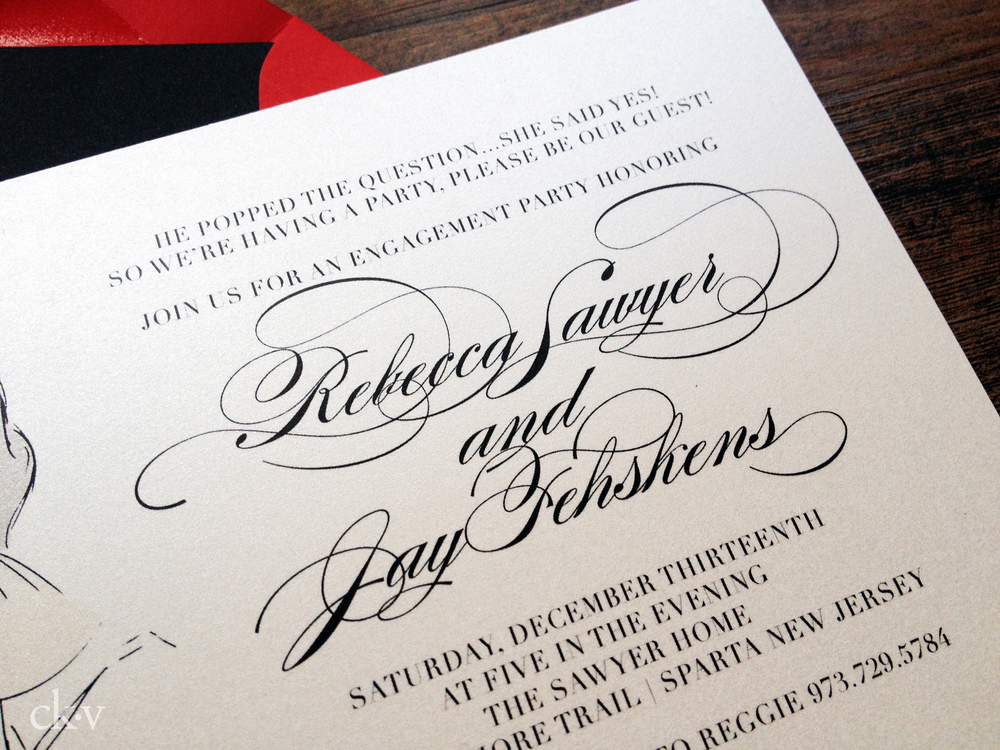 custom elegant engagement party invitation with crystal ring bling