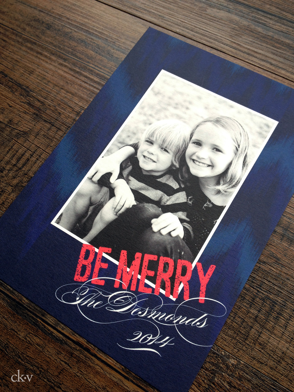 IKAT DENIM BLUE AND FUCHSIA HOLIDAY PHOTO CARD