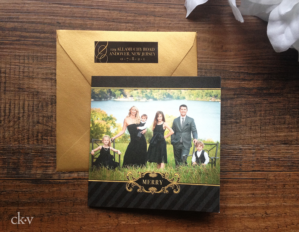 elegant black and gold trifold christmas photo card