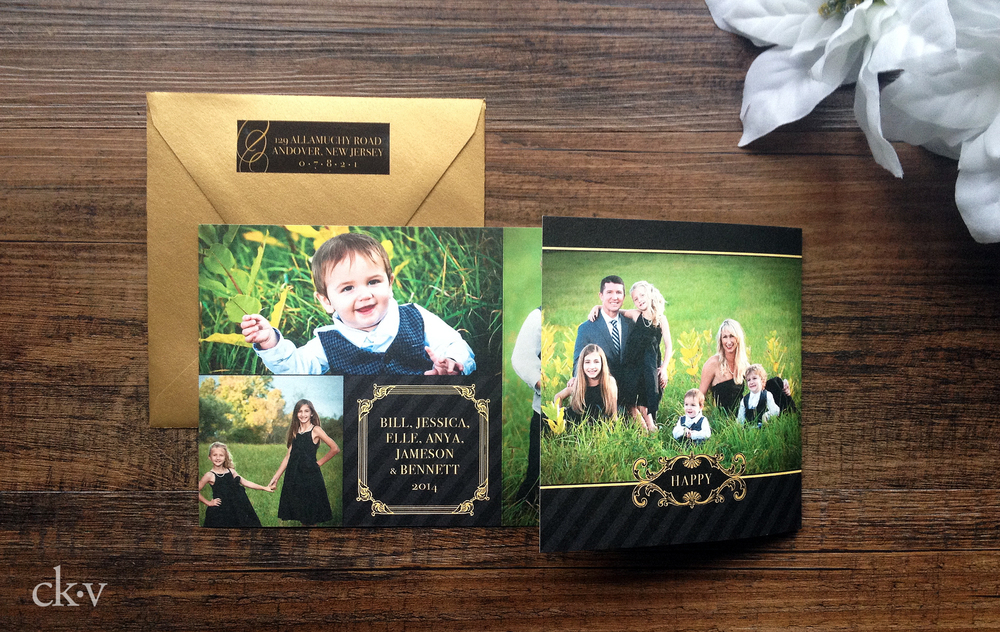 Elegant trifold balck and gold black tie christmas photo card