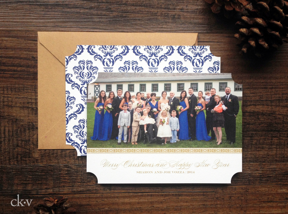 elegant and rustic large family holiday card with gold and cobalt blue