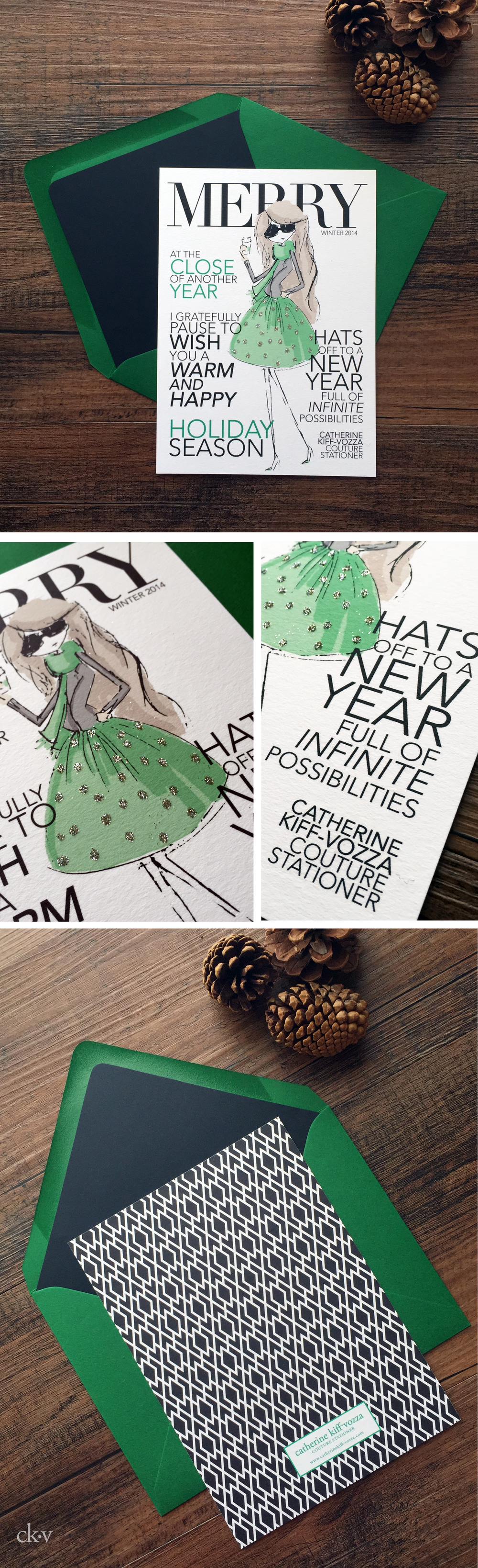 magazine custom fashion illustration doodle holiday card with glitter and green and black