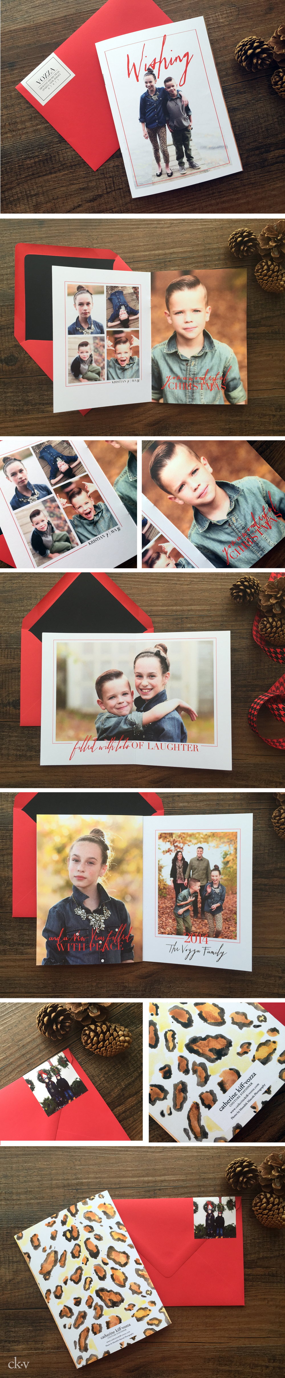 sophistcated red and leopard christmas card in fall holiday photo shoot