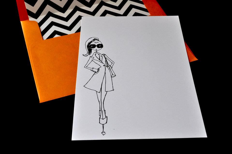 fashion illustration note card with chevron and orange envelope