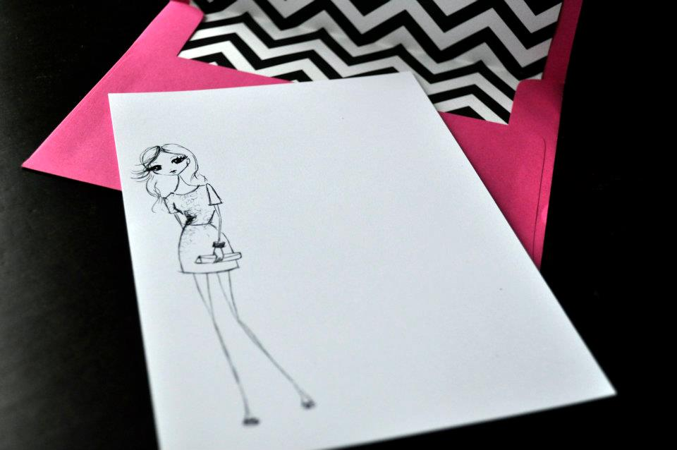 Fuchsia fashion illustration note card with chevron liner