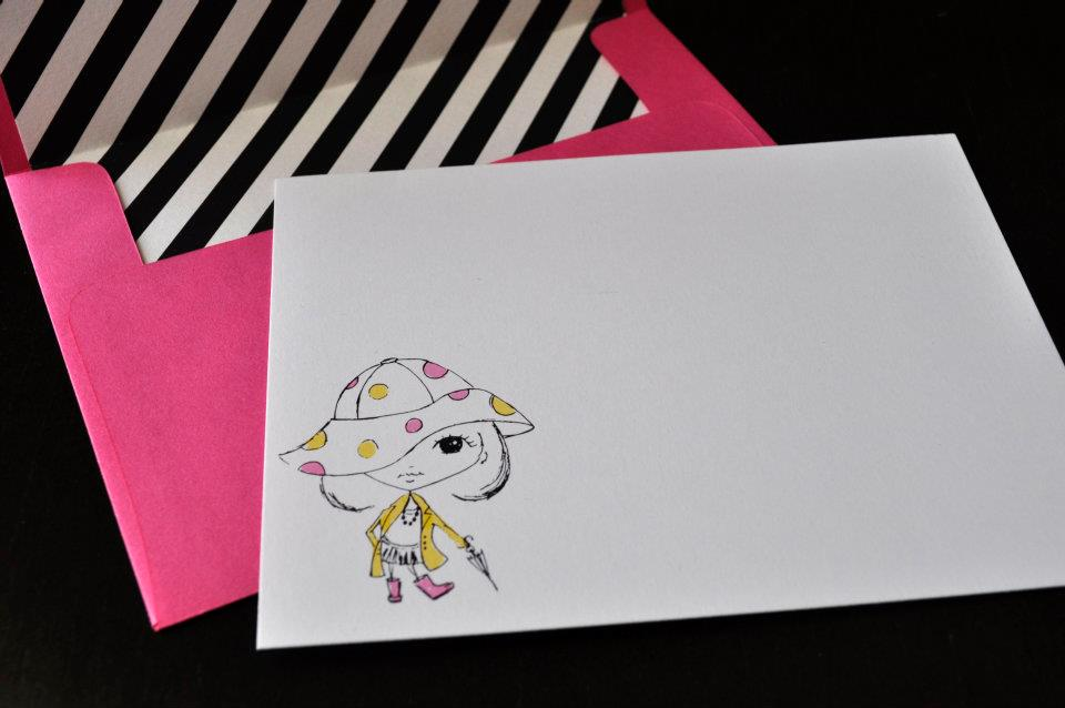 Little girl's pink and yellow polkadot rain coat note card with stripes and pink envelope