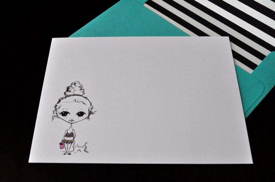 little curly haired girl's beach note card with stripes and bikini in fuchsia and teal