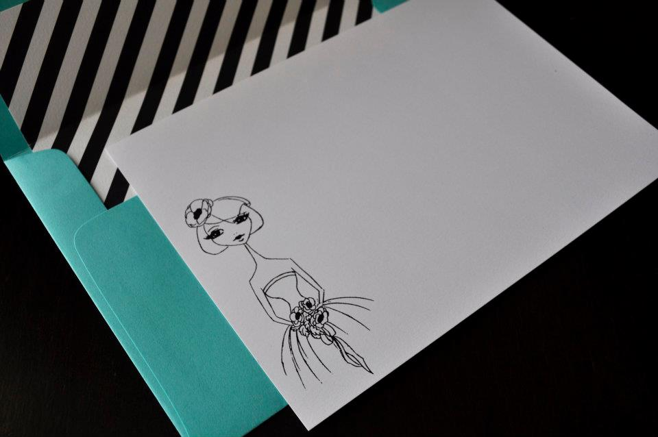 Bride's fashion illustration note card in tiffany blue with stripes and birdcage veil