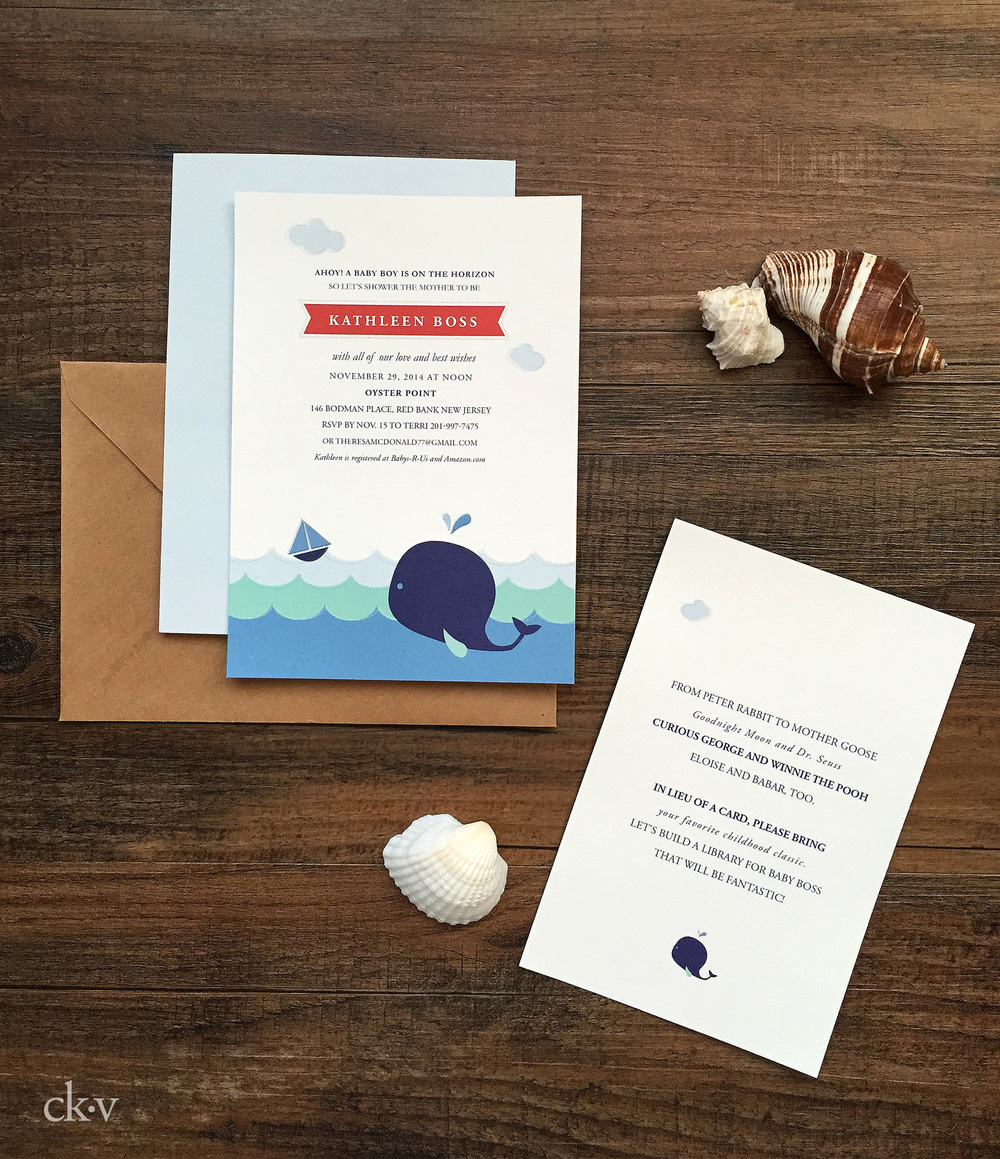 nautical baby shower invitation for a boy with whale and sailboats in blue and red