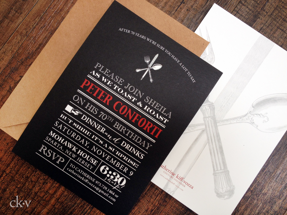 masculine red and black roast party invitation with vintage fork, spoon and knife