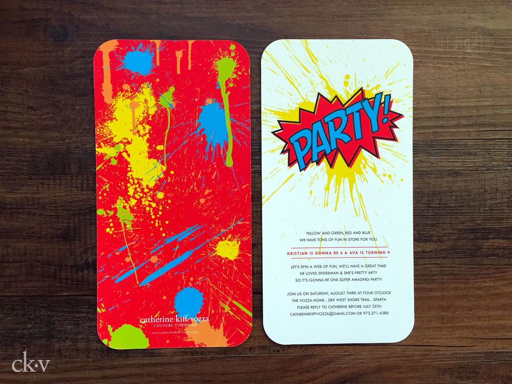 Superhero pop art party with splatter invitation in rainbow colors