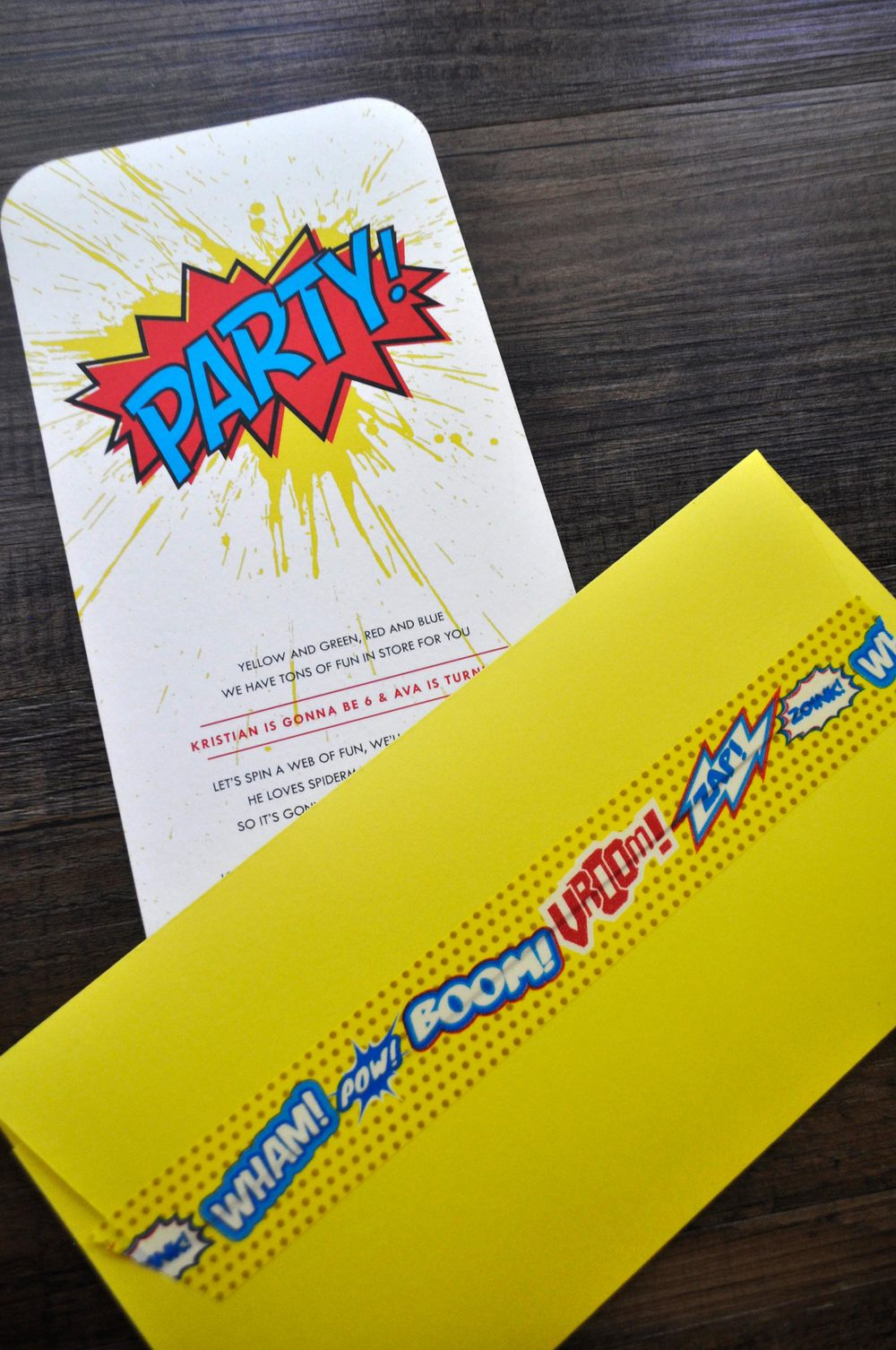Supher hero art party with splatter invitation in rainbow colors with custom envelope and washi tape seal