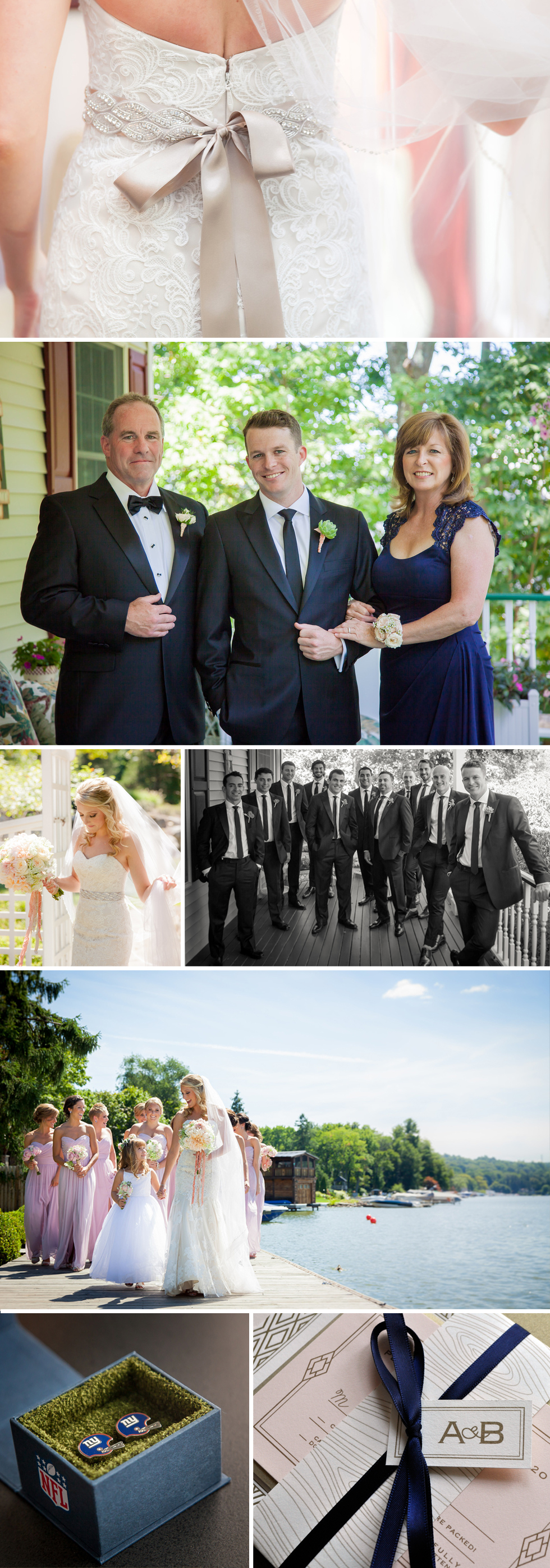 Romantic modern summer wedding with soft pastels and champagne gold and navy accents