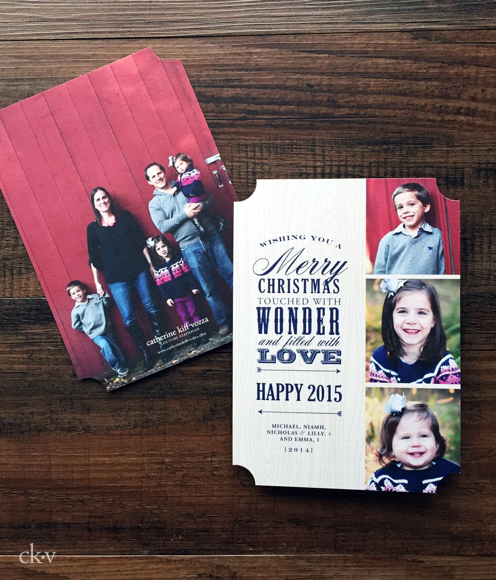 rustic and casual ticket shaped christmas card from fall photoshoot with barn
