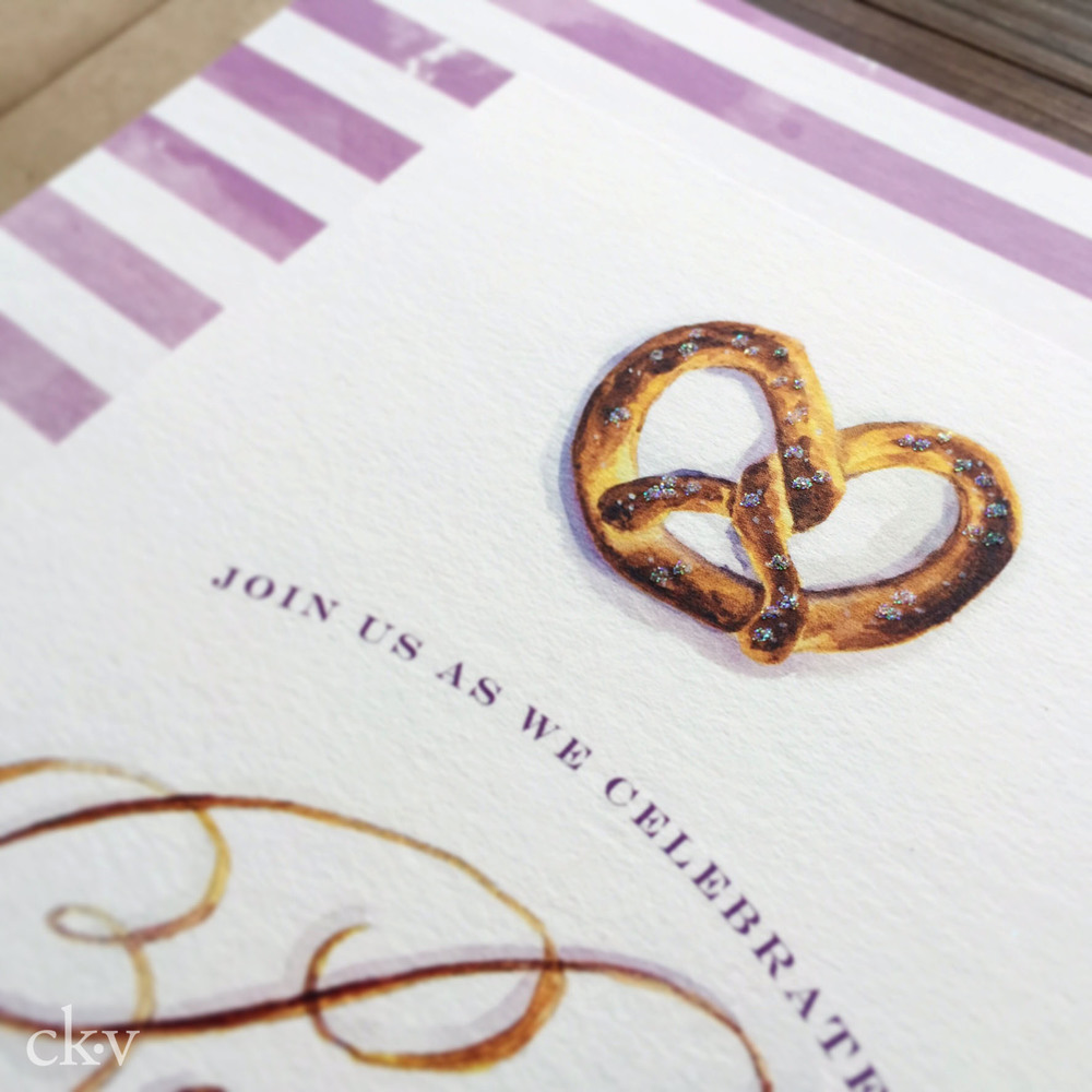 Pretzel making party invitation with watercolor illustration and handlettering