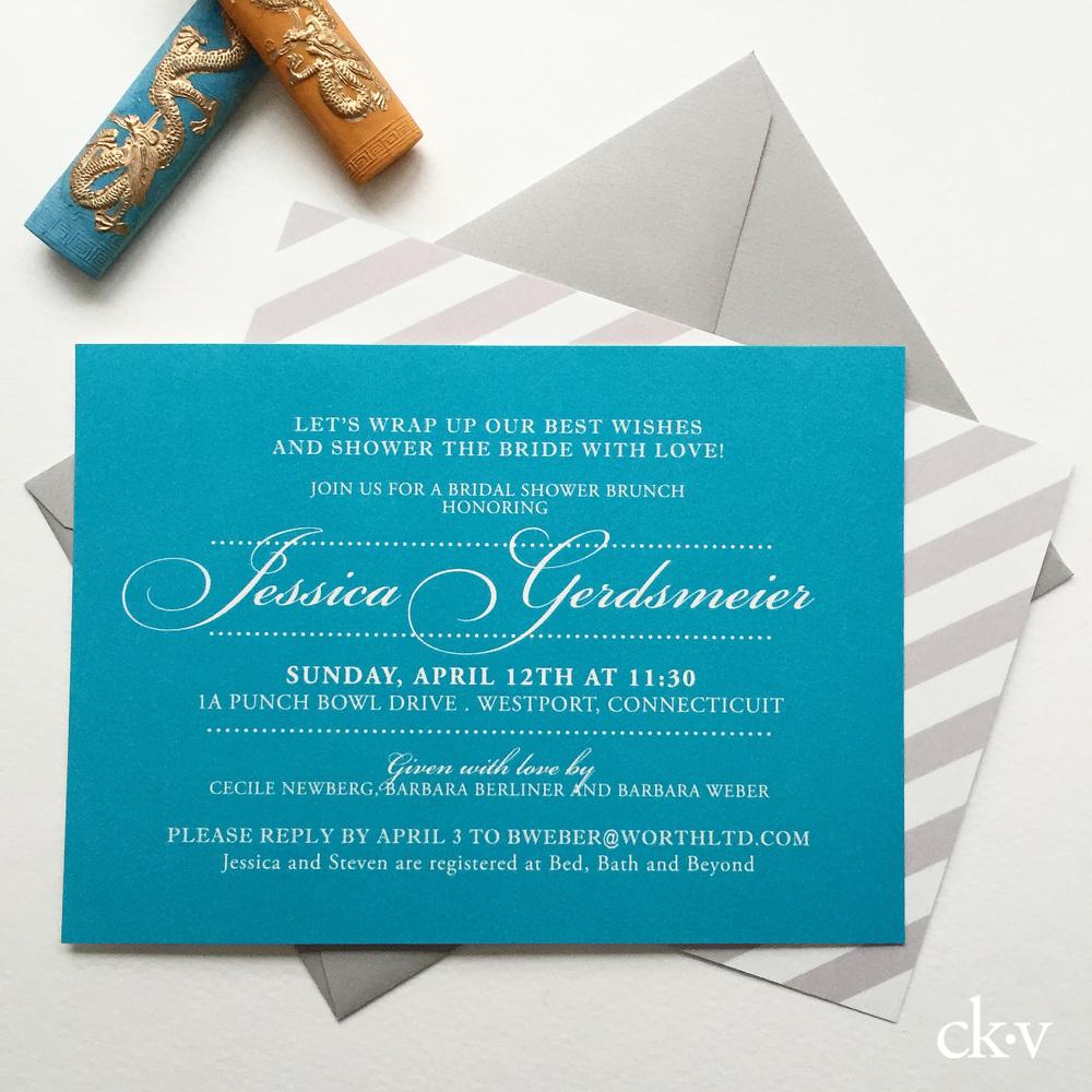 elegant tiffany blue bridal wedding shower invitations