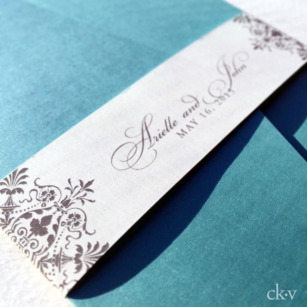 tiffany blue pocket wedding invitation by Catherine Kiff-Vozza, Couture Stationer