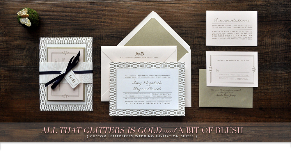 pale pink and gold letterpress wedding invtations with diamond pattern, belly band and custom monogram logo by Catherine Kiff-Vozza, Couture Stationer