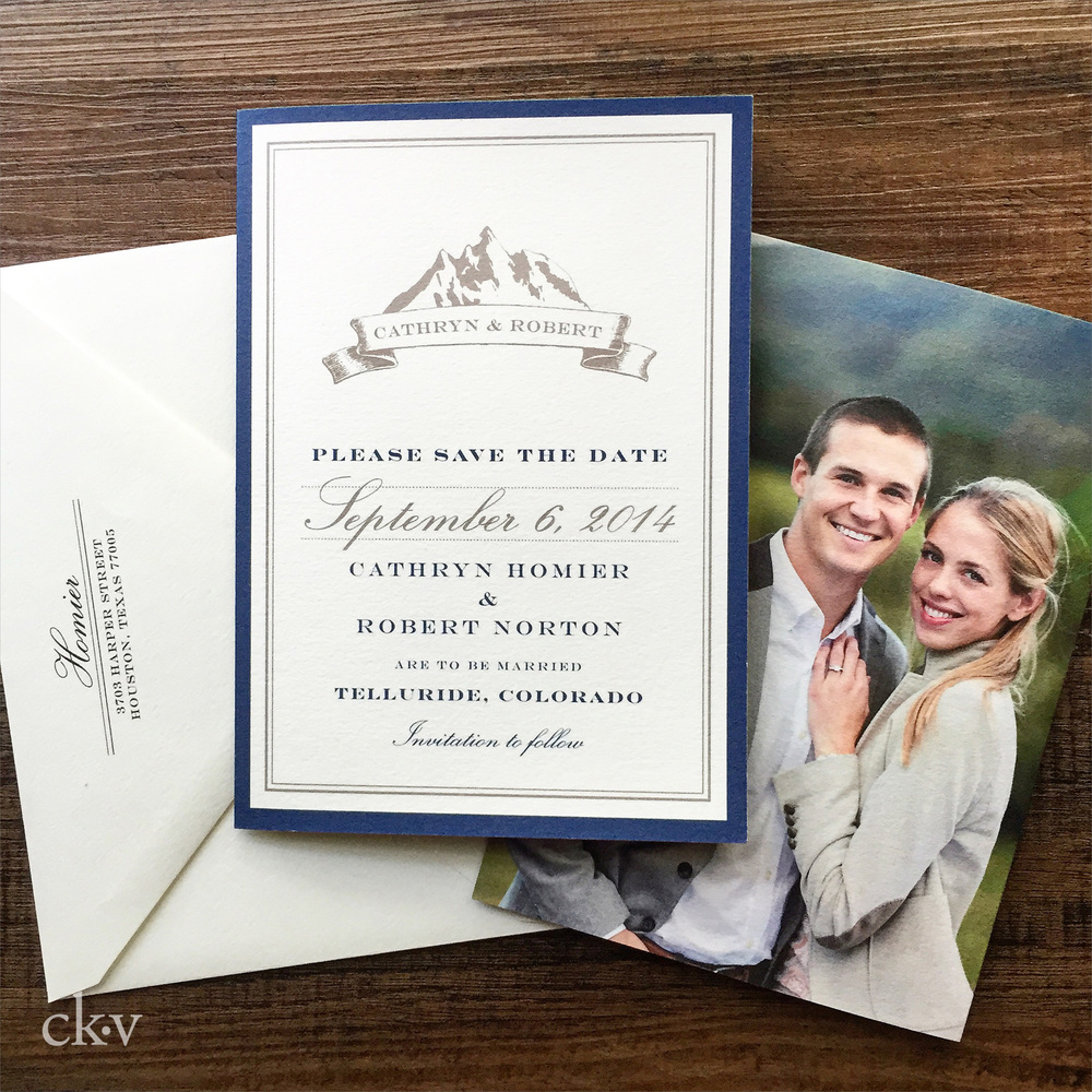 telluride colorado destination mountain wedding photo save the date card by Catherine Kiff-Vozza, Couture Stationer