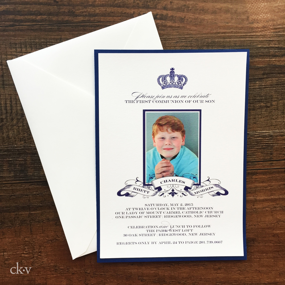 boy's fancy navy first communion invitation with photo