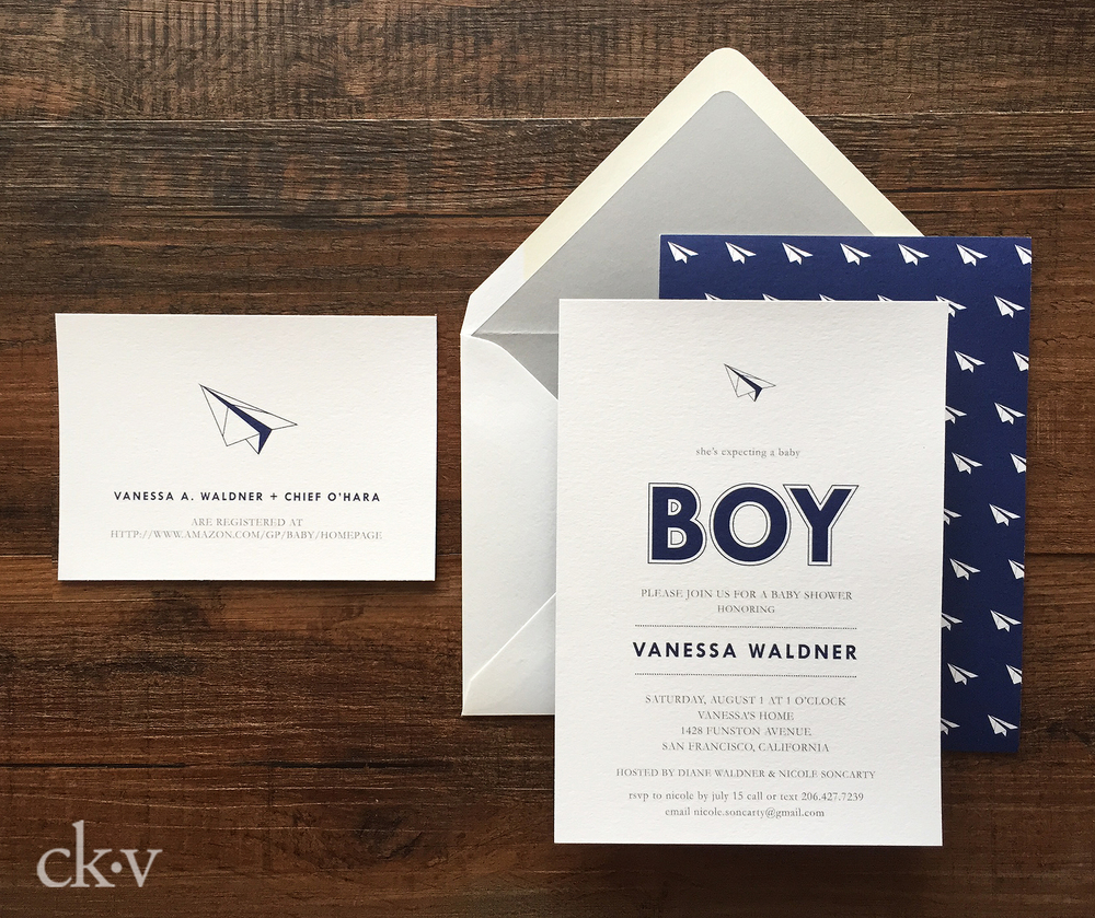 navy and gray paper airplane baby boy shower invitation by Catherine Kiff-Vozza, Couture Stationer