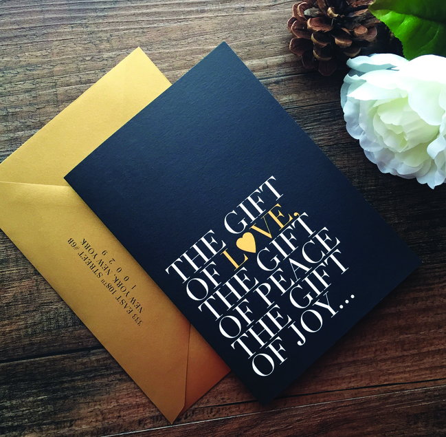 Custom gold and black modern holiday card with houndstooth pattern by Catherine Kiff-Vozza, Couture Stationer
