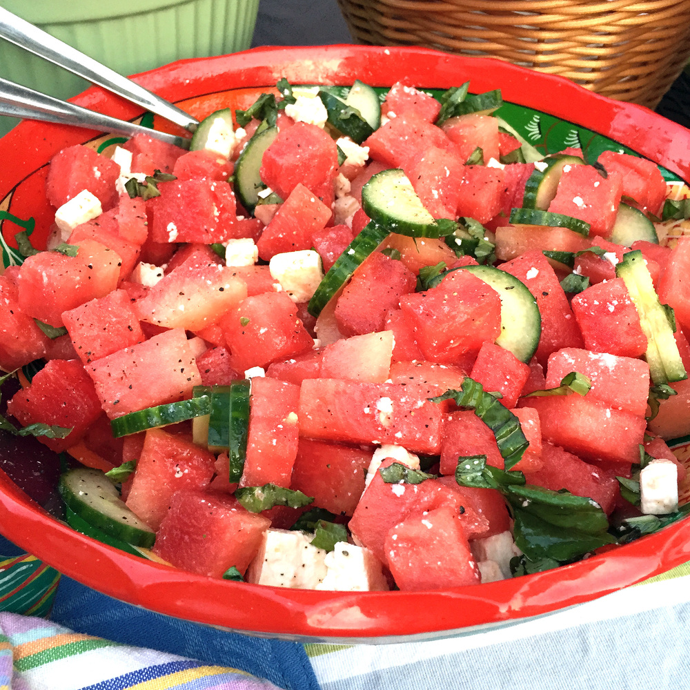 easy and fast watermelon and feta salad