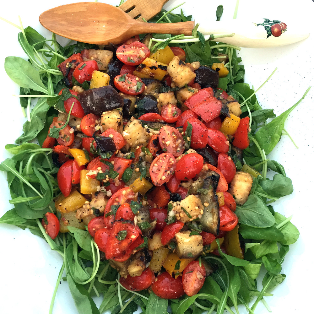 easy and fresh homemade grilled caponata salad with arugula