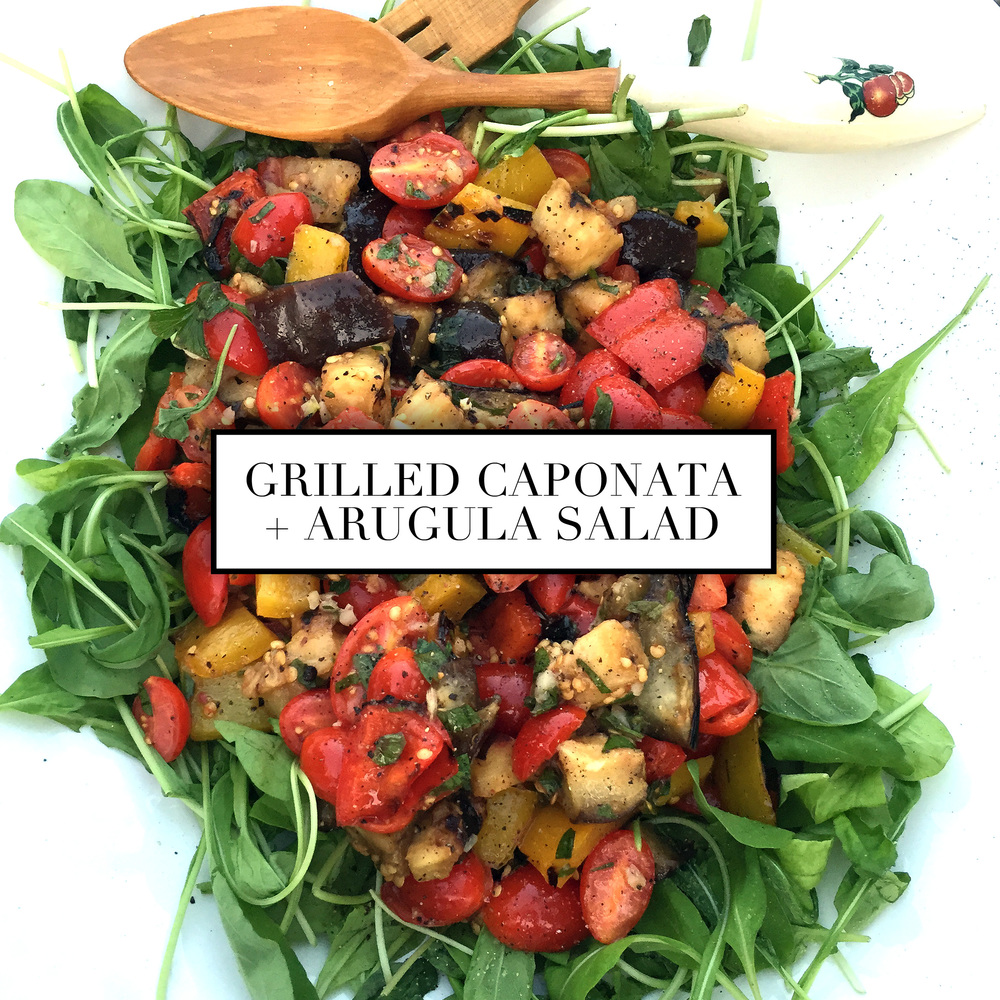 grilled caponata and arugula salad