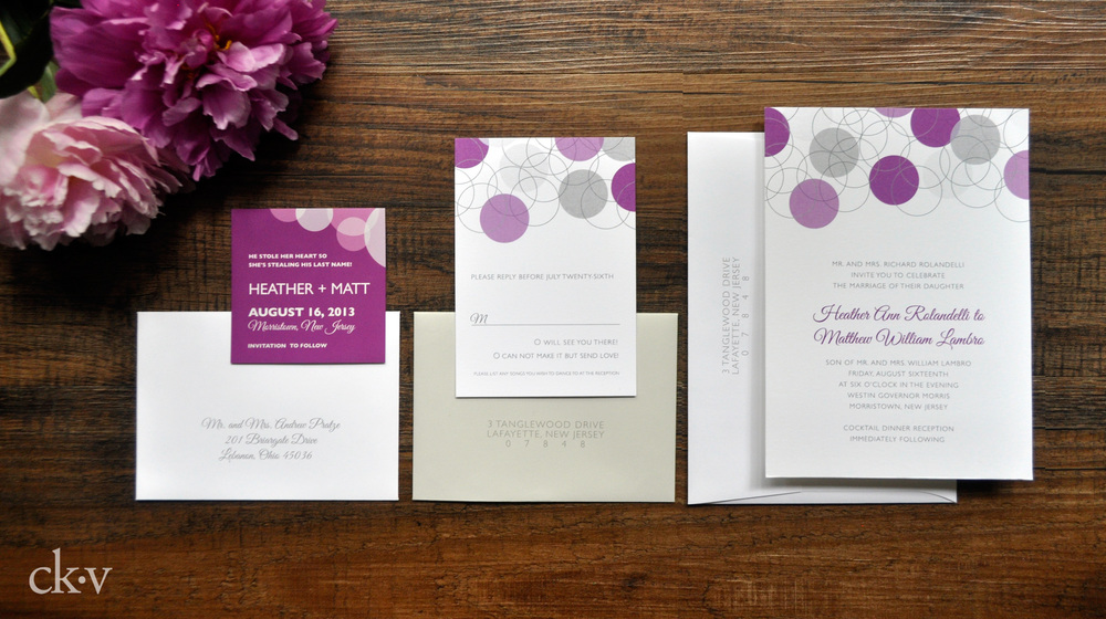 Modern purple geometric wedding invitation with grey envelope by Catherine Kiff-Vozza, Couture Stationer