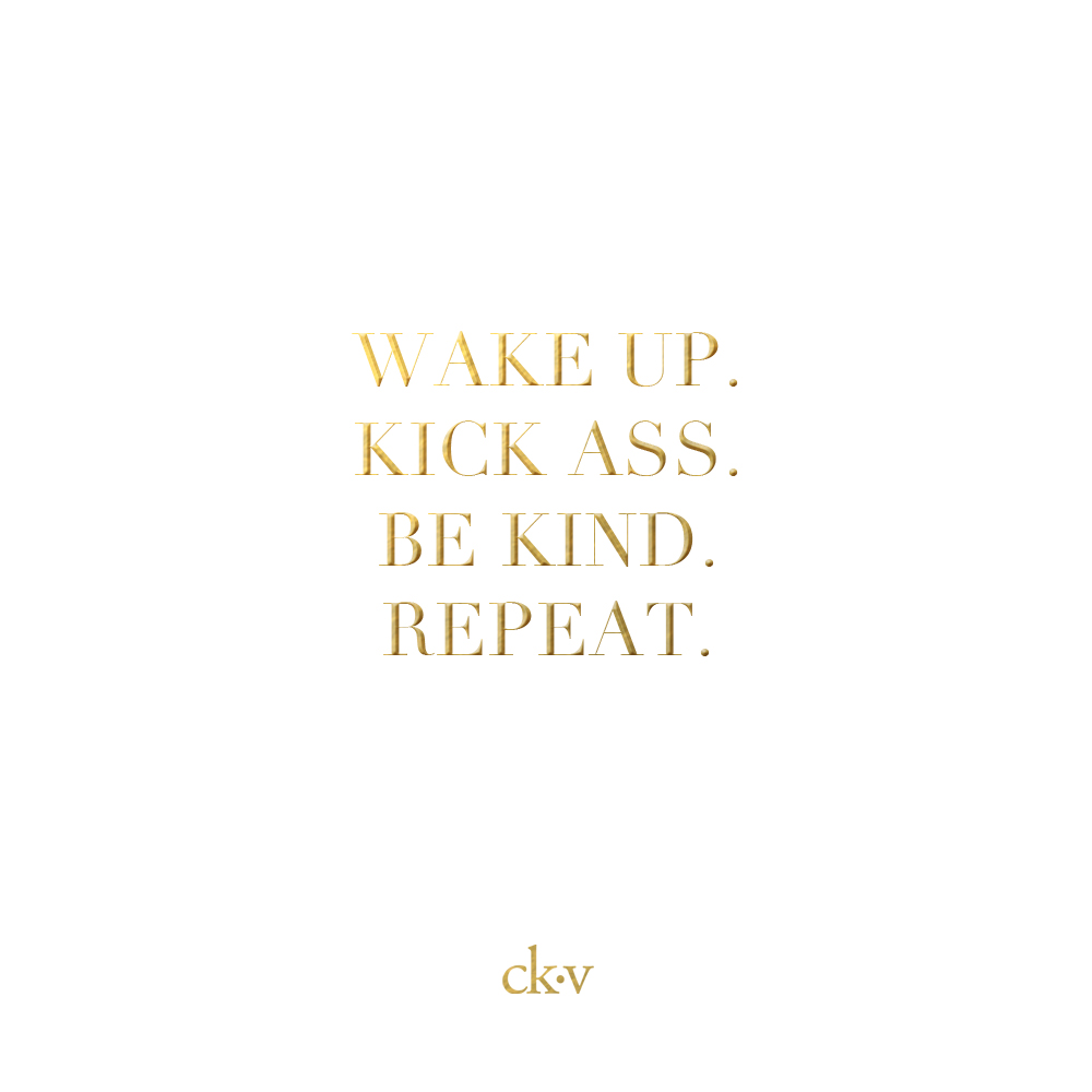 Inspirational quote: Wake up. Kick ass. Be kind. Repeat.