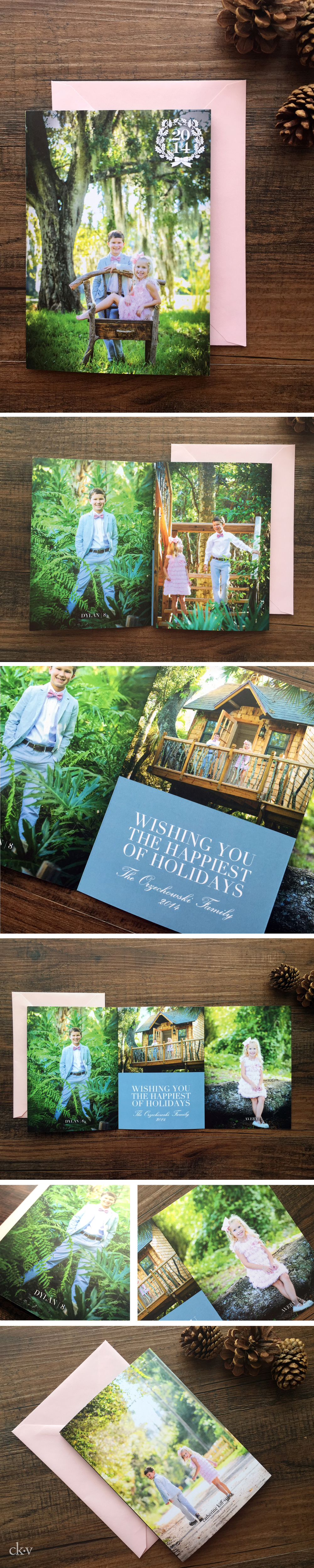 southern+inspired+pink+and+blue+trifold+holiday+photo+card