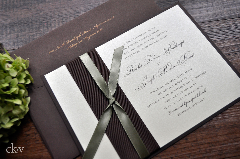 Fall Wedding Invitation in Sage Green, Chocolate Brown and Gold by Catherine Kiff-Vozza, Couture Stationer