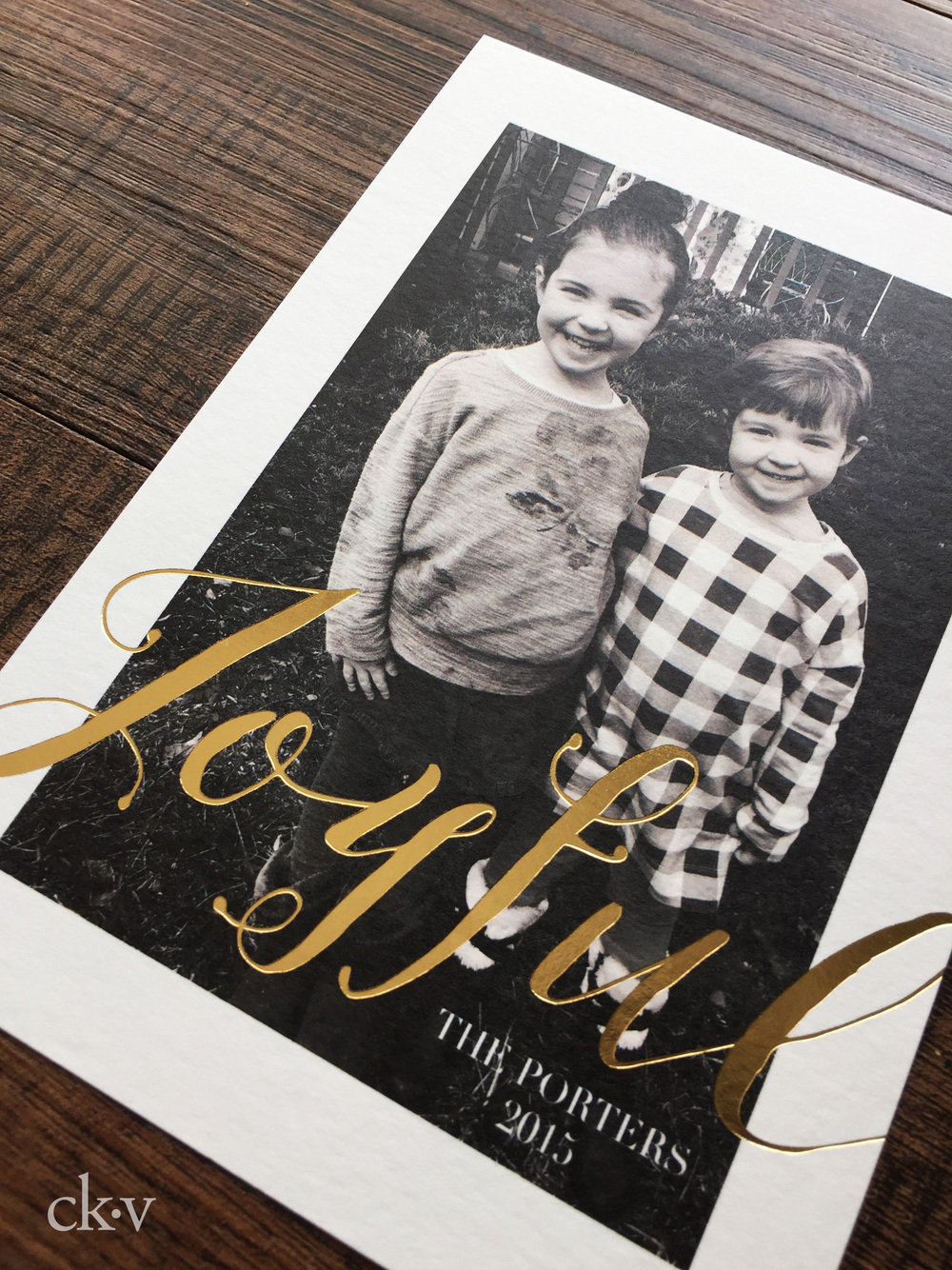 Modern Gold foil photo christmas card