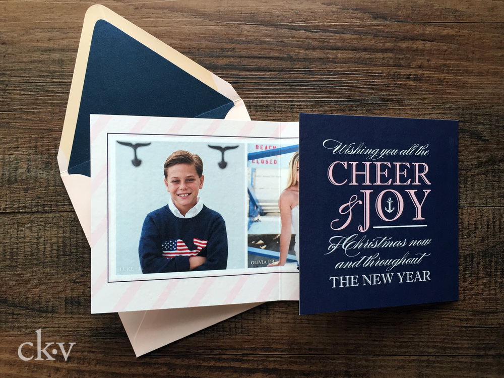 Preppy pink nautical christmas card