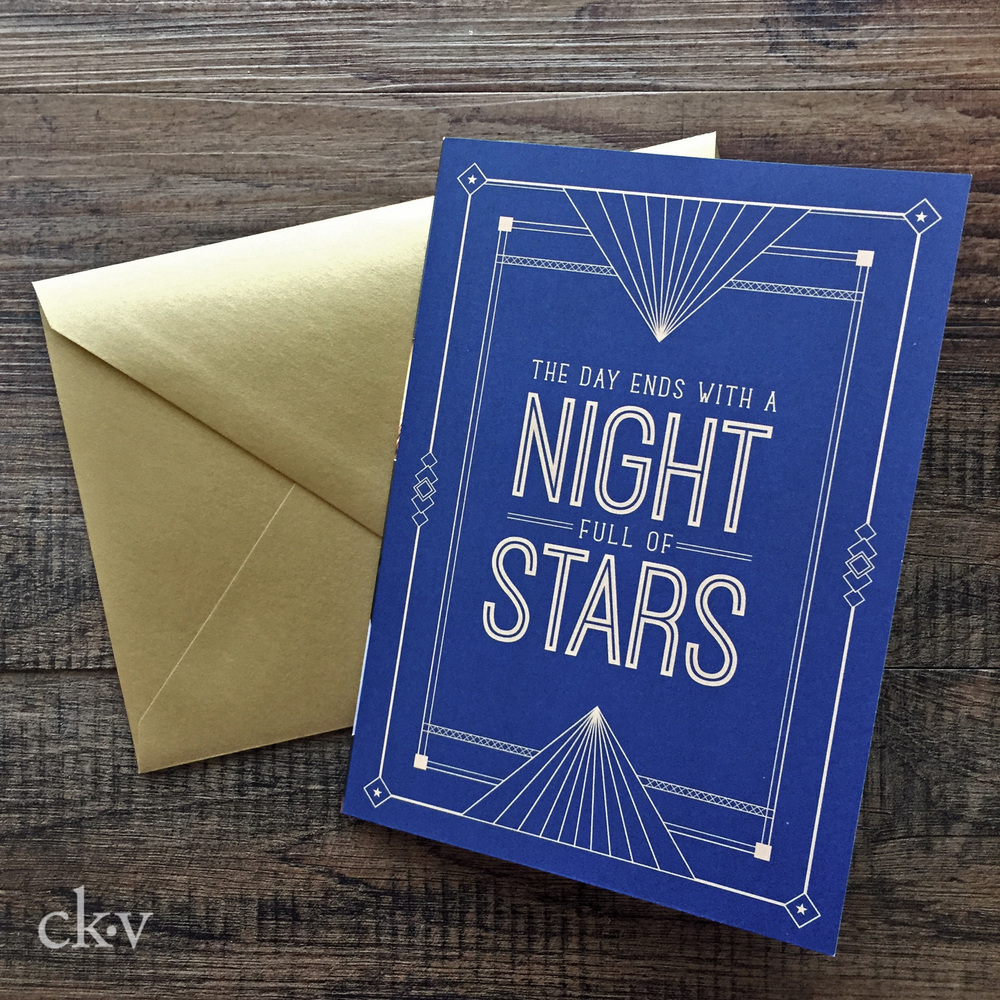 Starry starry night navy and gold custom christmas cards