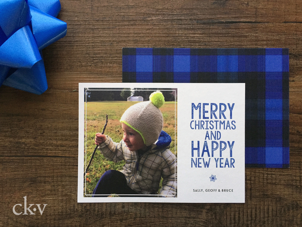 Blue plaid custom christmas photo card
