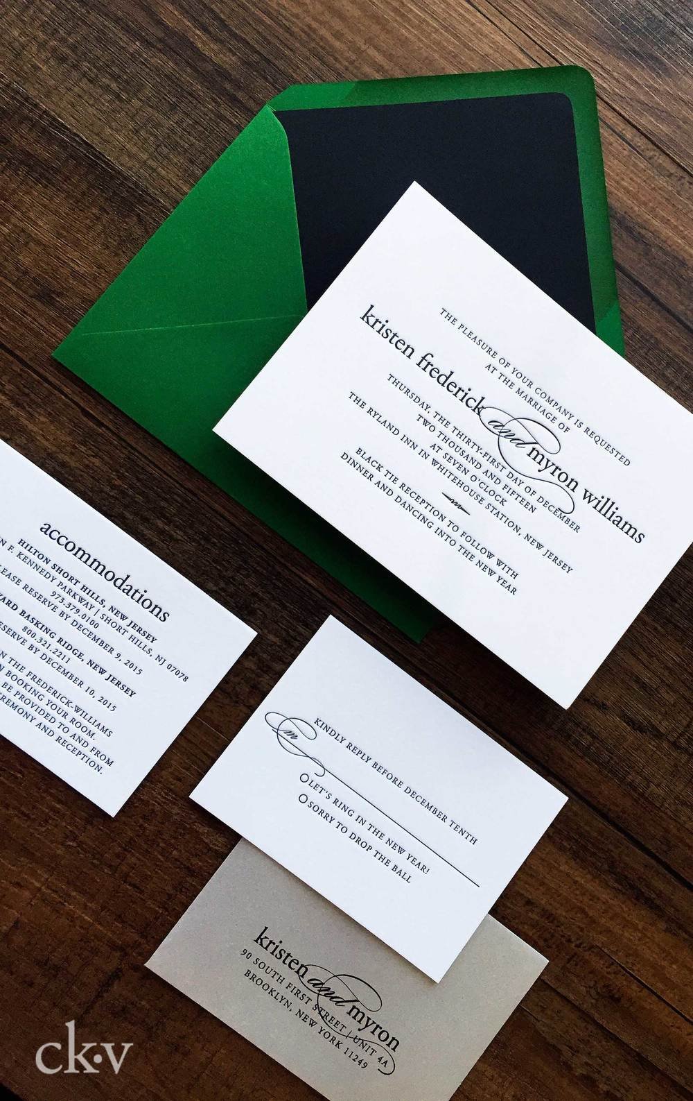 Green, black and white letterpress wedding invitation suite